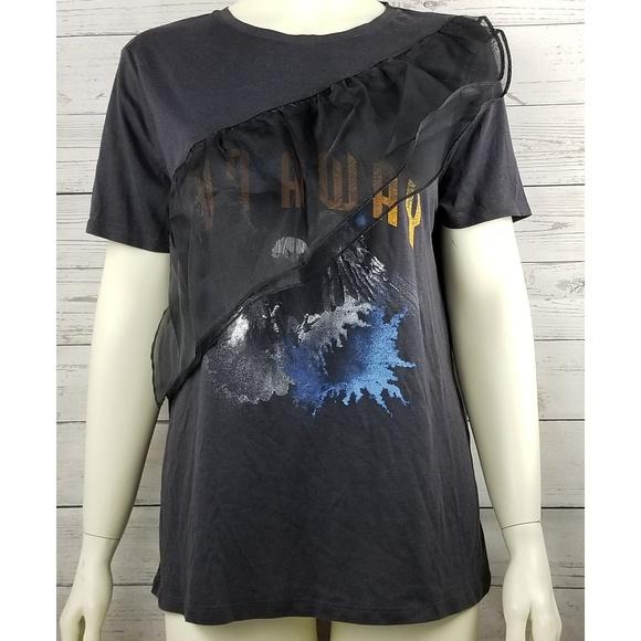 47e55be8 Zara Tops | Run Away Graphic Tee Eagle Ruffle Large Nwt | Poshmark